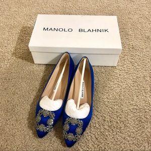 Manolo Blahnik Hangisi Embellished BlueSatin Flats